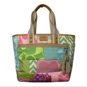 COACH Hamptons Large Weekend Multi-Color Patchwork Gallery Tote Bag Purse